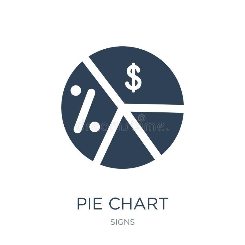 information om pajdiagram på pengarsymbol i moderiktig designstil information om pajdiagram på pengarsymbolen som isoleras på vit royaltyfri illustrationer