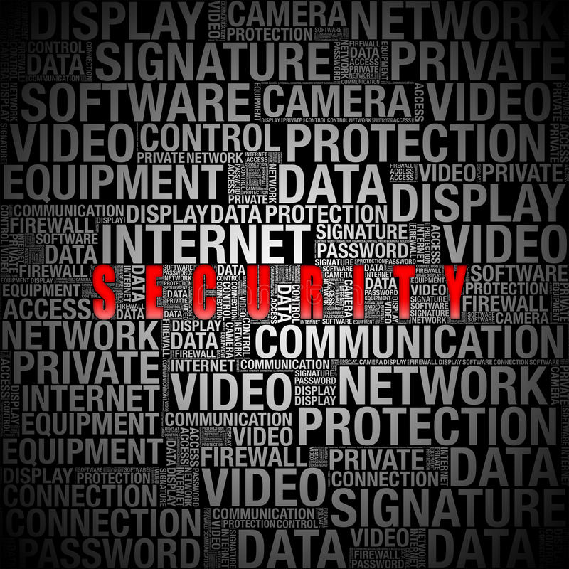 Information om säkerhet i ordcollage royaltyfri bild