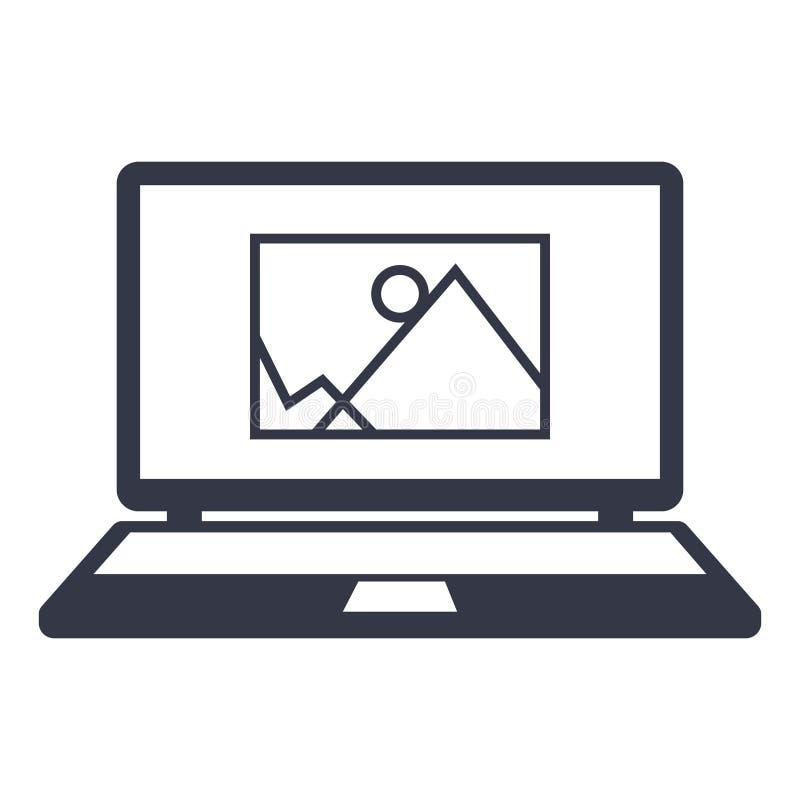 Information om symbolsbild dra på bärbar datorskärmen stock illustrationer