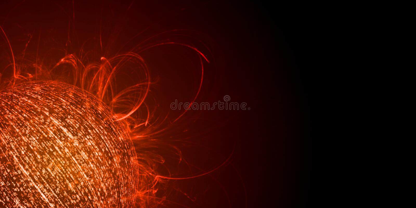 Information overload concept. Sphere created from binary data with glowing red color and heat flame emitting royalty free stock photo