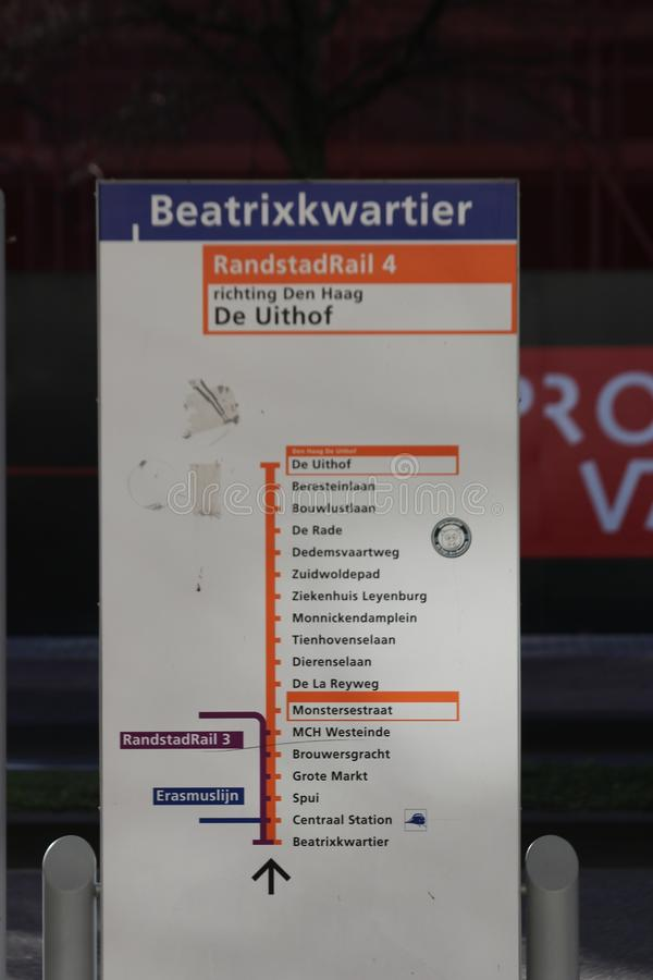 Information panel about Randstadrail line 3 and 4 at station Beatrixkwartier in Den Haag, the Netherlands. Information panel about Randstadrail line 3 and 4 at royalty free stock photo