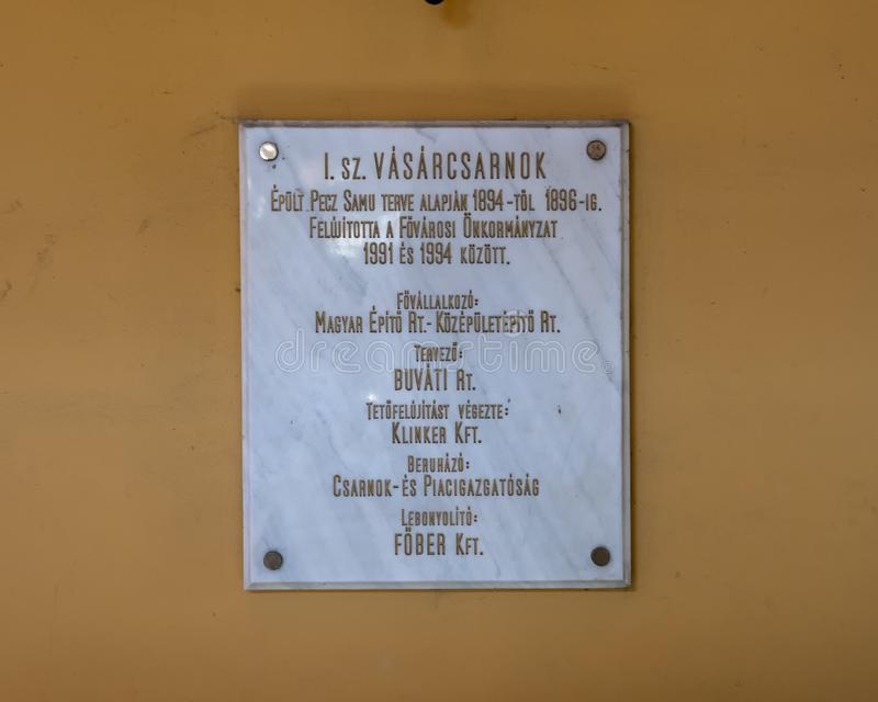 Information plaque, I Szamu Varcsarnok Central Market Hall, Budapest, Hungary. Pictured is an information plaque for I Szamu Varcsarnok Central Market Hall stock image