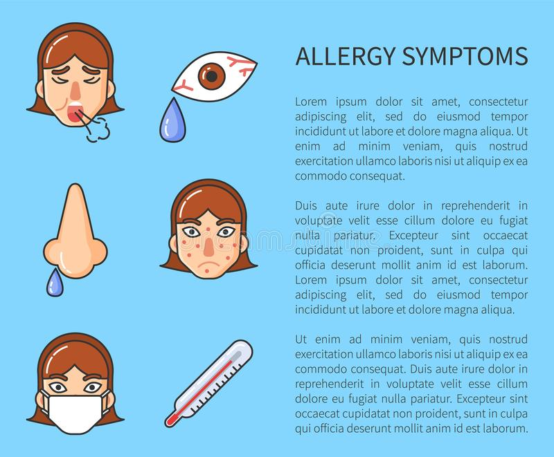 Information Poster of Allergy Symptoms Vector vector illustration