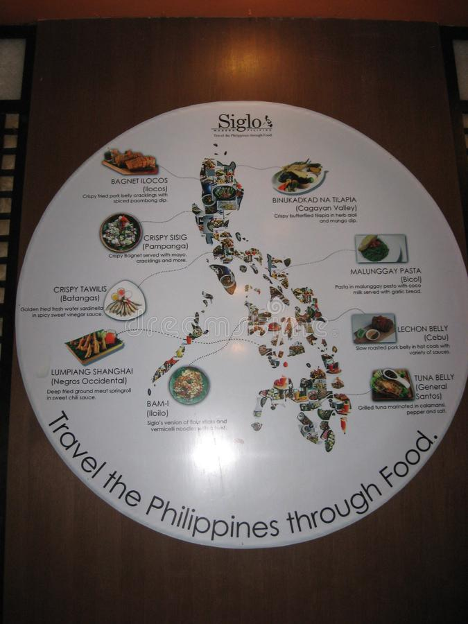 information poster on Philippine food in Tagaytay, Philippines stock image