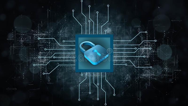 Information protection and cyber security - Closed Padlock on digital background stock illustration
