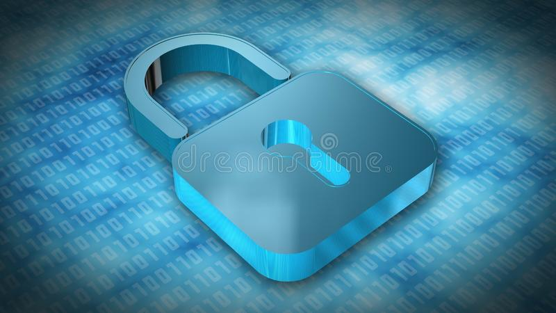 Information protection and cyber security - Closed Padlock on digital background vector illustration
