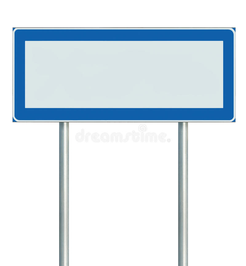 Information Road Sign Isolated, Blank Empty Signpost Copy Space For Icons, Pictograms, Large Roadside Info Signage Pole Post vector illustration