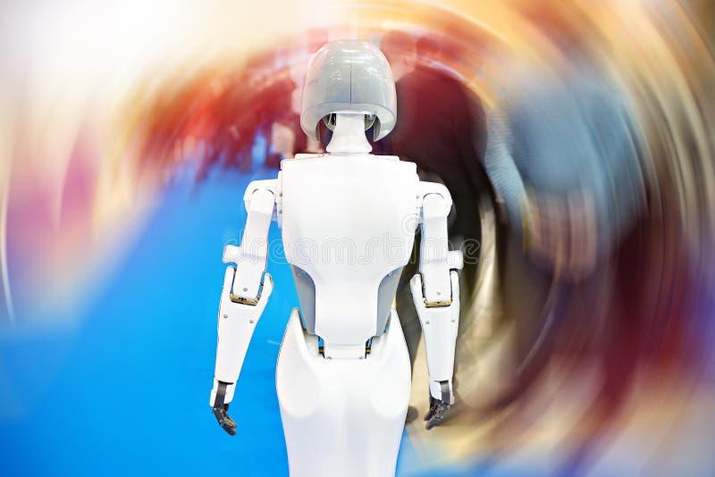 Information robot on blurred background stock images