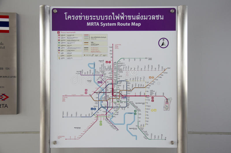 Information route map pole of Mass Rapid Transit Authority of Th royalty free stock photography