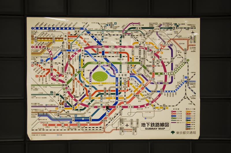 Information route map pole of subway and railway of Tokyo metro royalty free stock image