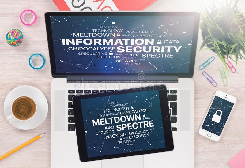 Information security concept with Meltdown and Spectre threat on laptop tablet and smartphone screens royalty free stock image