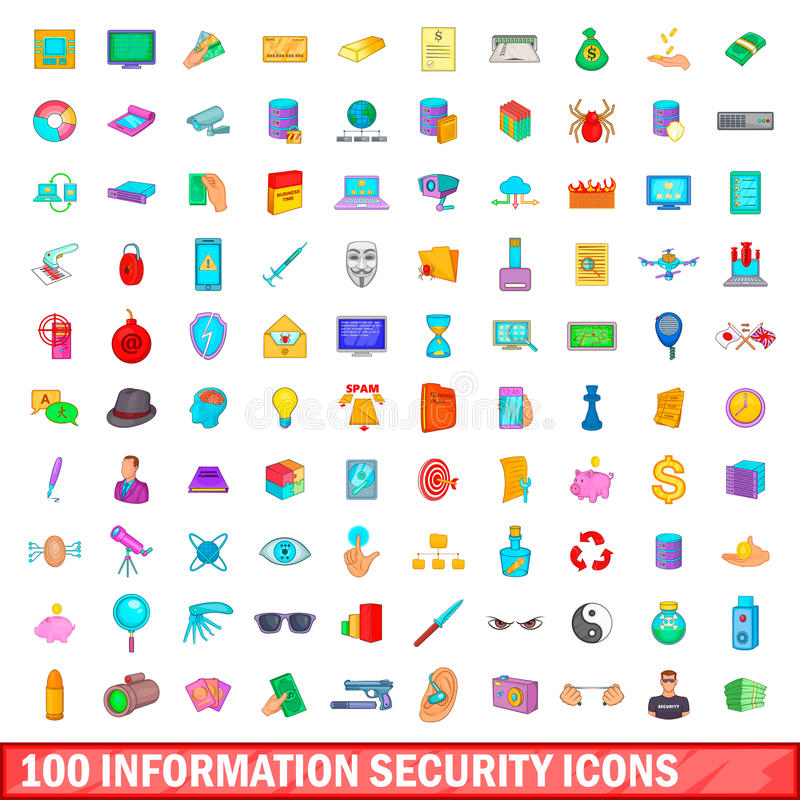 100 information security icons set, cartoon style royalty free illustration