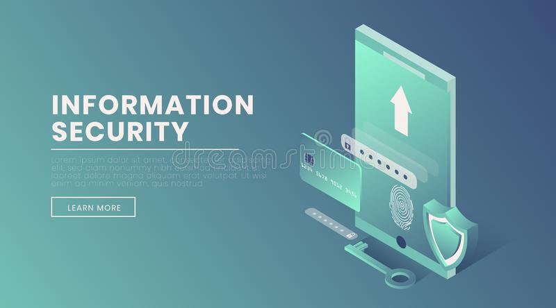 Information security landing page vector 3d template. Account access, fingerprint scanner, voice identification webpage. Design layout. Personal information stock illustration