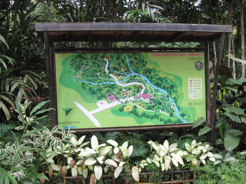 An information sign board at Makiling botanical gardens, Philippines stock photos