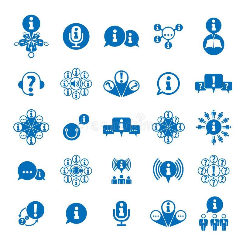 Information som analyserar uppsättningen för samla och utbytestemasymbol, royaltyfri illustrationer