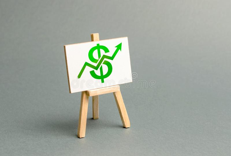 Information stand with a green dollar sign and up arrow. Increase profits and wealth. growth of wages, prices for manufactured stock images