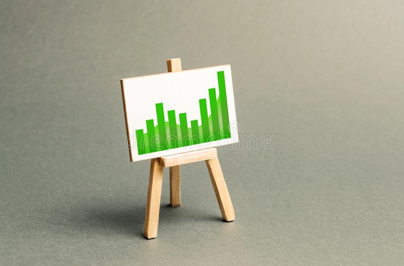 Information stand with a positive trend chart. Increase profits and wealth. growth of wages, prices for manufactured and sold stock image