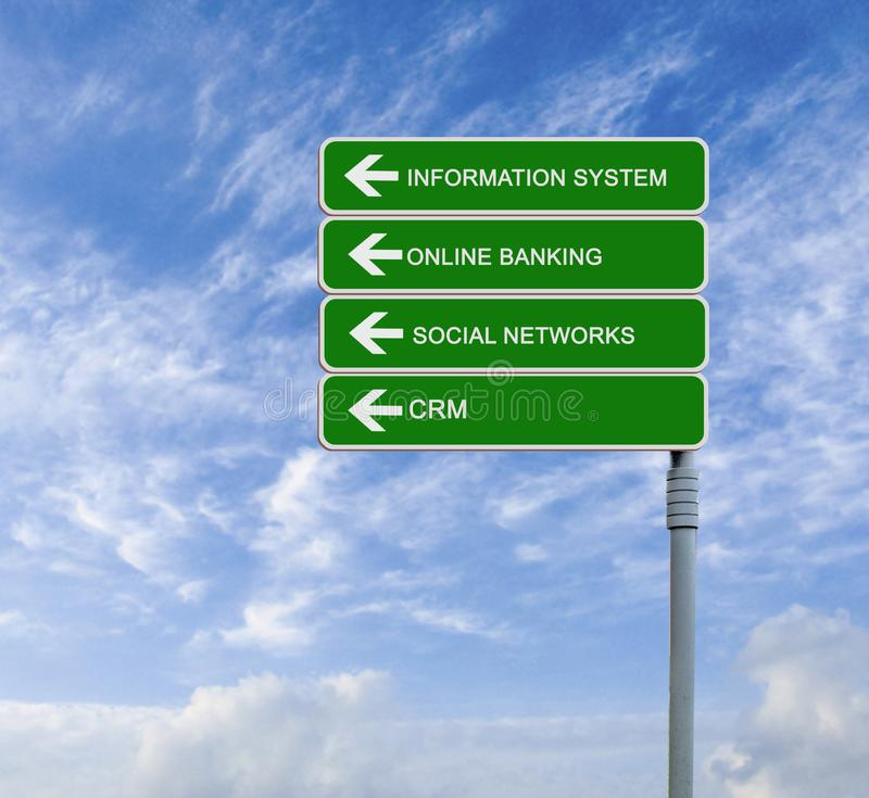 Information system. Road sign to information system royalty free stock images