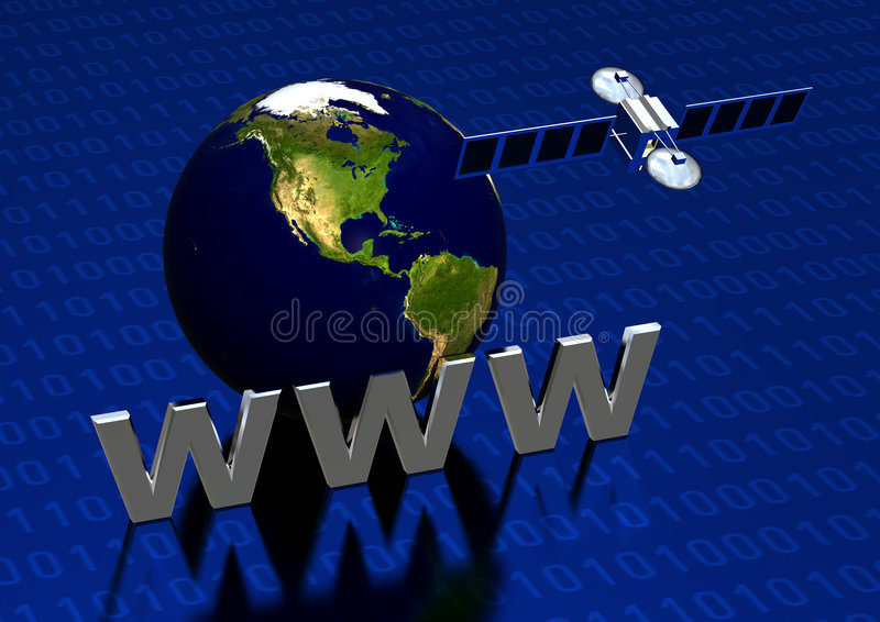 Information technology. Earth, Satellite & Binary numbers to simulate Information technology royalty free illustration