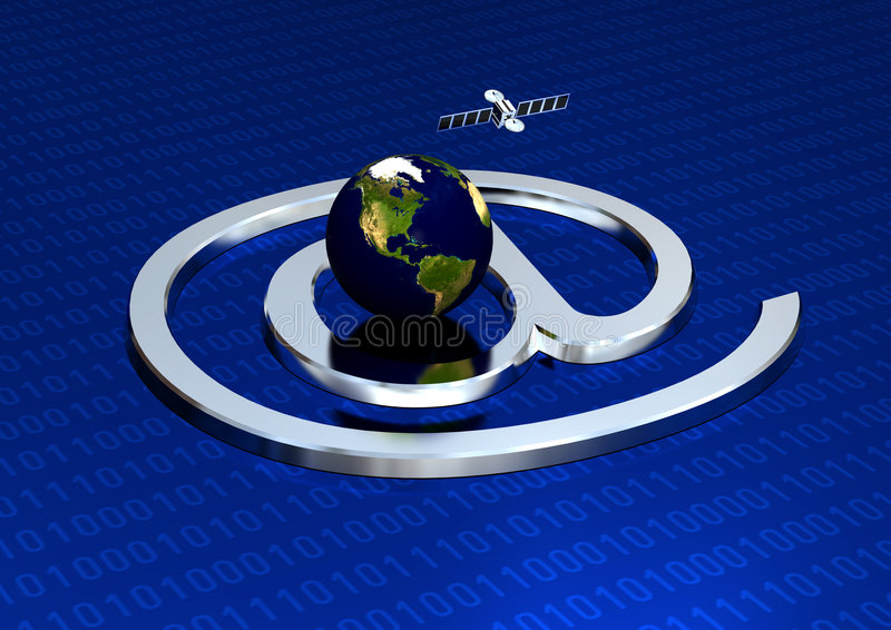 Information technology. Earth, Satellite & Binary numbers to simulate Information technology stock illustration