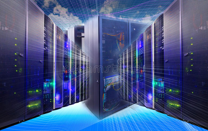 Information technology collage of data center with racks equipment and cables router royalty free stock photography
