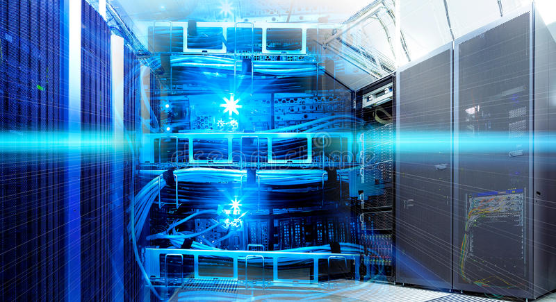 Information technology collage of data center with racks equipment and cables router stock photos