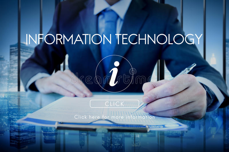 Information Technology Computer System Concept. People Using Information Technology Computer System stock image