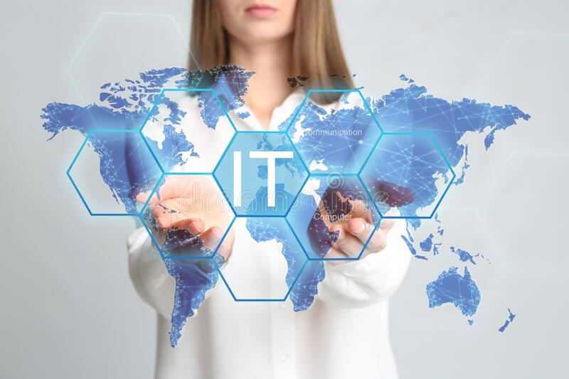 Information technology. Woman pointing at world map on light grey background, closeup. Information technology concept. Woman pointing at world map on light grey royalty free stock photo