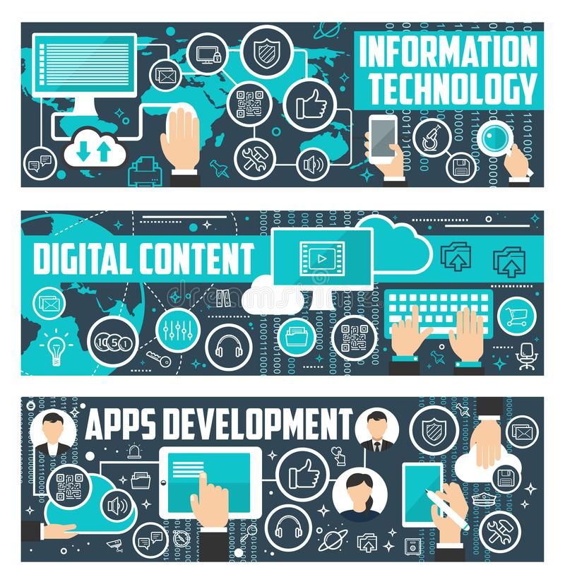 Information technology data vector banners. Information technology, digital content and web apps development banners. Vector flat design for social network and vector illustration