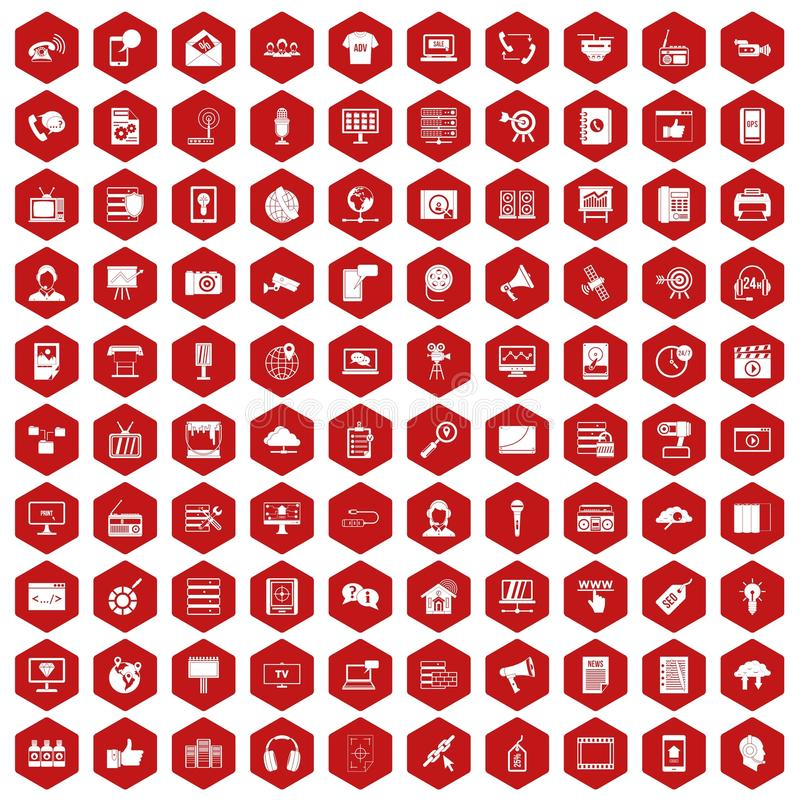 100 information technology icons hexagon red. 100 information technology icons set in red hexagon isolated vector illustration stock illustration