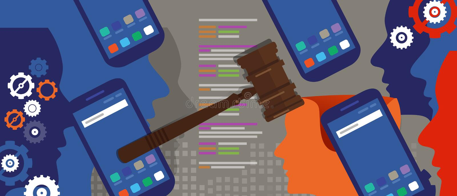 Information technology internet digital justice law verdict case legal gavel wooden hammer crime court auction symbol. Vector vector illustration