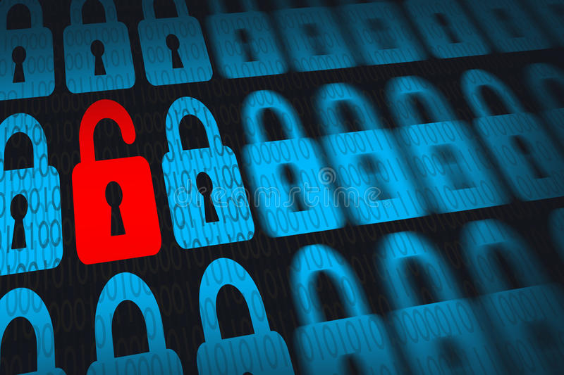 Information technology security concept with open lock system. And binary numbers royalty free stock photography