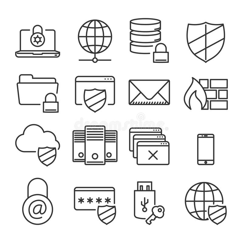 Information technology security icons. Plain line stock illustration