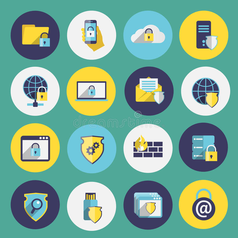 Information technology security icons set royalty free illustration