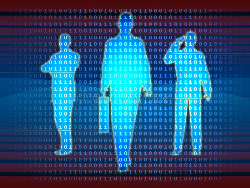 Information technology team. Businessman silhouettes emerge from a binary data stream. Digital illustration stock illustration