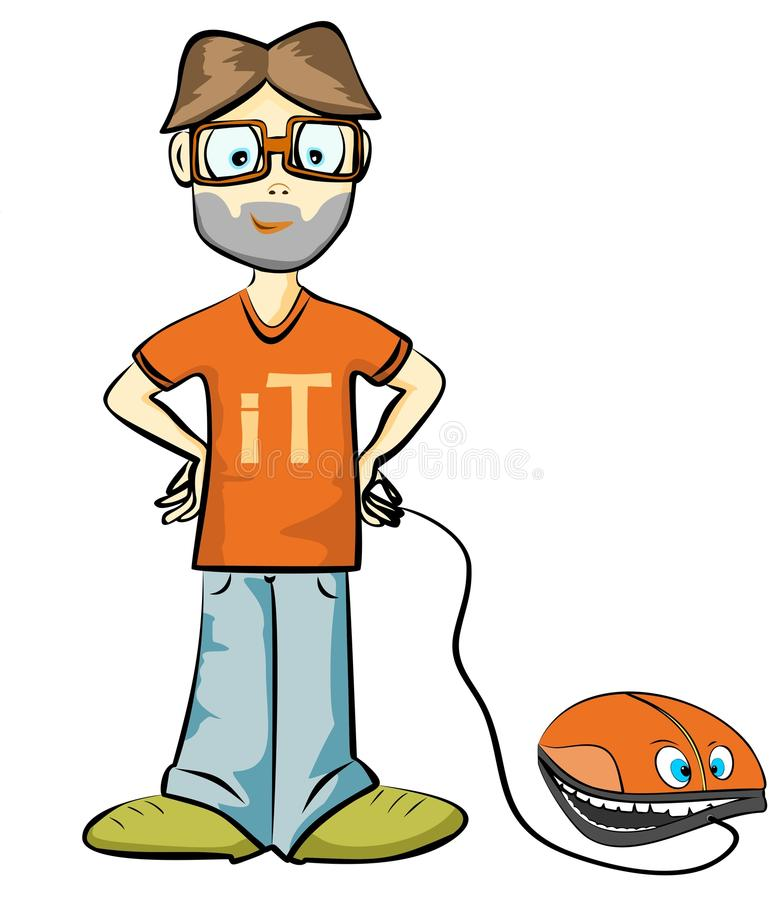 Information technology. Workers with the mouse on a walk vector illustration