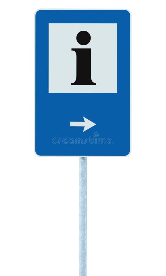 Information undertecknar in blått, svart som jag märker symbolen, den vita ramen, assistent som pekar pilen, isolerad information arkivbilder