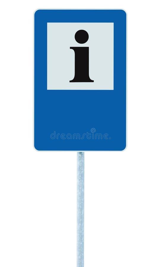 Information undertecknar in blått, svart som jag märker symbolen, den vita ramen, för kopieringsutrymme för mellanrumet tom bakgr royaltyfria bilder