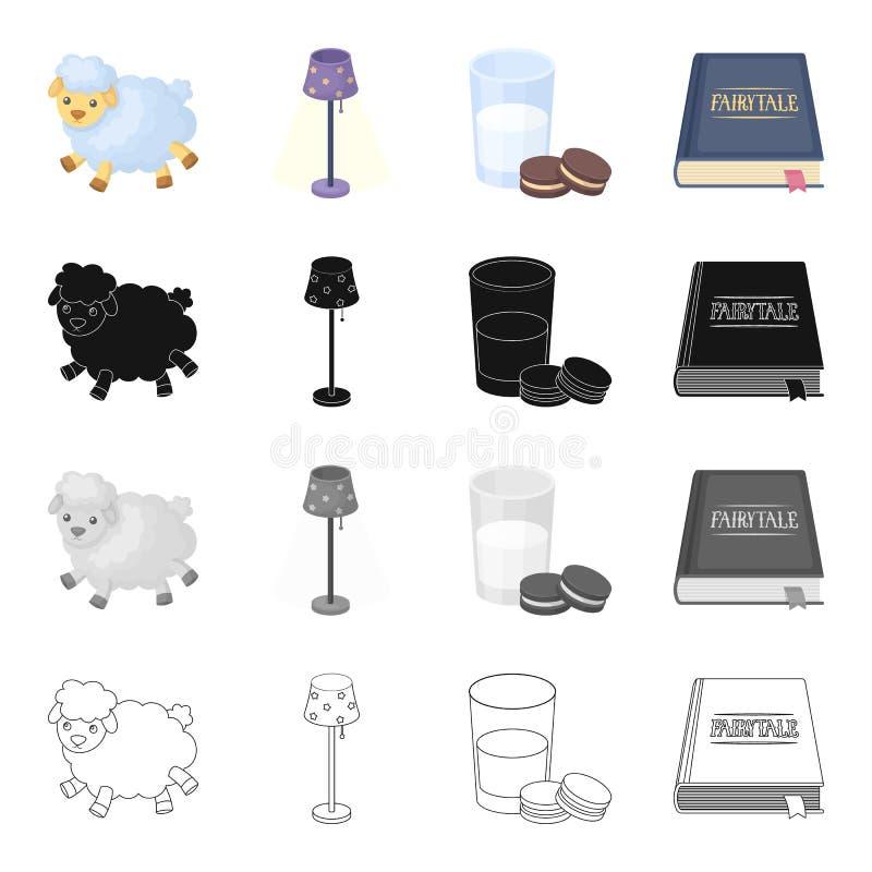 Information vilar, sömn och annan rengöringsduksymbol i tecknad filmstil Bok band, bookmarking symboler i uppsättningsamling royaltyfri illustrationer