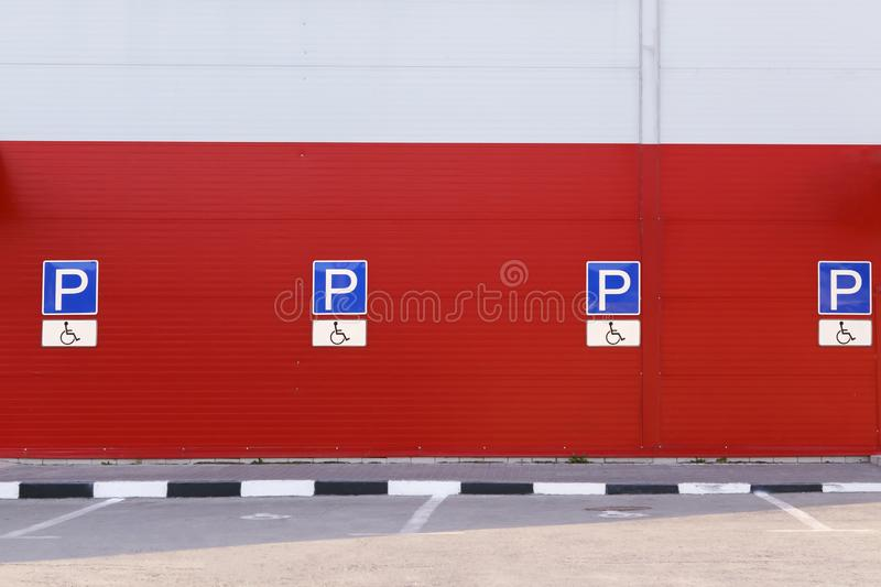 Information warning road sign car parking place for transport disabled people.  stock photography