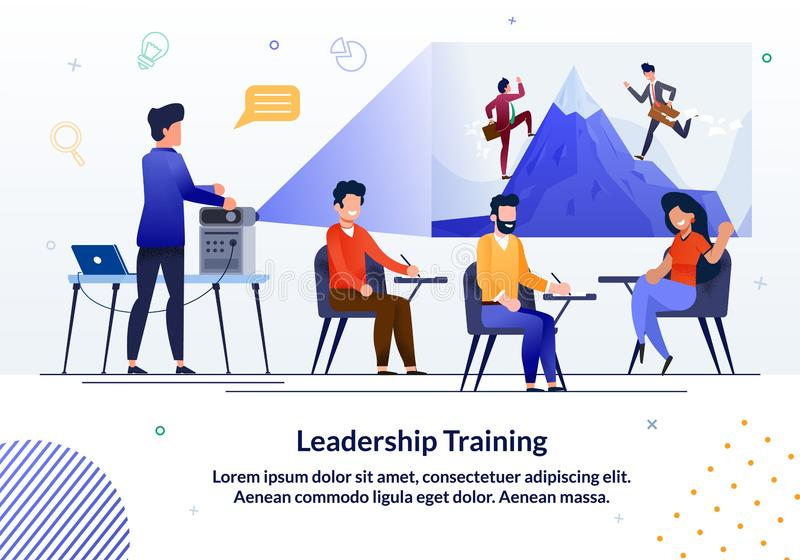 Informational Banner Written Leadership Training. Experienced Teachers Quickly and Efficiently Convey Practical Experience, In-depth Knowledge and Secrets stock illustration