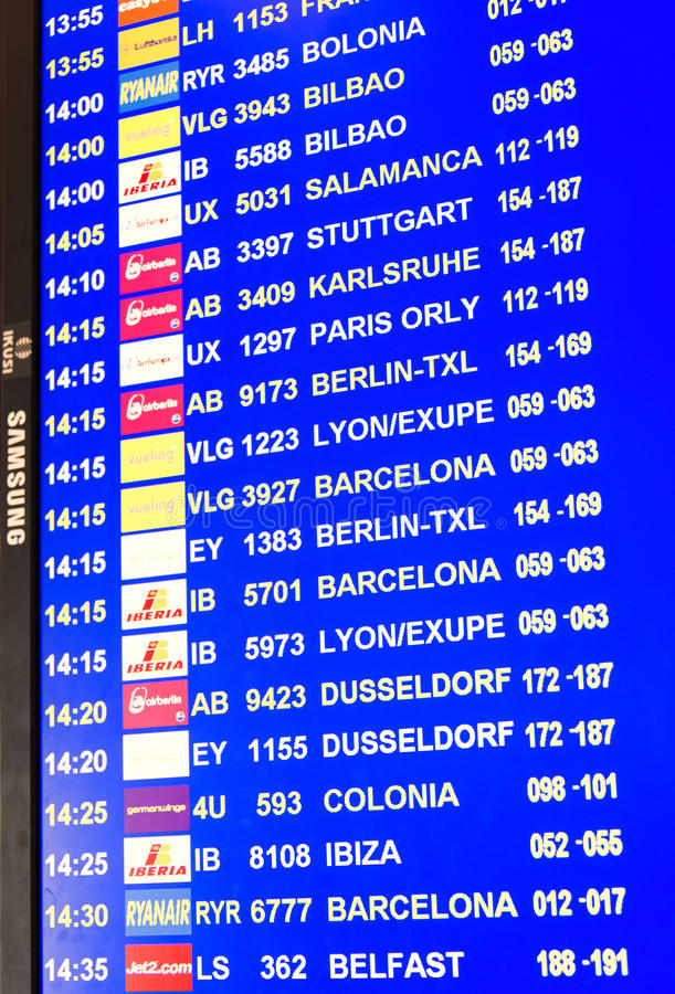Download Informational Flight Panel At Palma De Mallorca Airport Editorial Stock Photo - Image of information, counters: 28038578