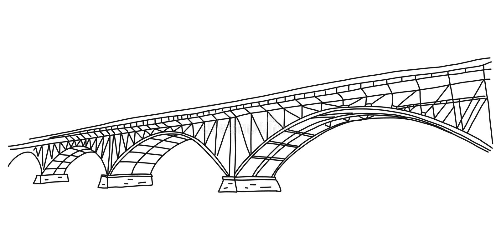 Informational flyer simple quick sketch bridge. Arched bridge for crossing various types vehicles across water surface. Steel and concrete construction royalty free illustration