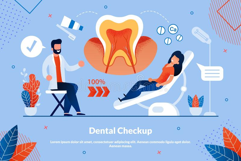 Informational Flyer is Written Dental Checkup. Medical Procedures to Treat an Illness or Injury. Flat Banner Woman is Being Treated and Diagnosed by Dentist vector illustration