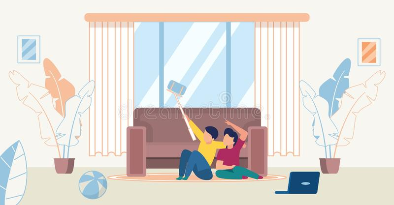 Informational Poster Family Spend Time Together. Young Joyful Children. Boy and Girl Sitting on Floor Near Large Sofa Take Selfie. Cozy Spacious Room with big stock illustration