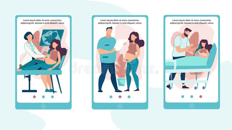Informational Poster Set Child Sex Determination. Banner Pregnant Girl at Reception Doctor. Advertising Flyer Young Woman Gave Birth to Child, Husband Stands vector illustration