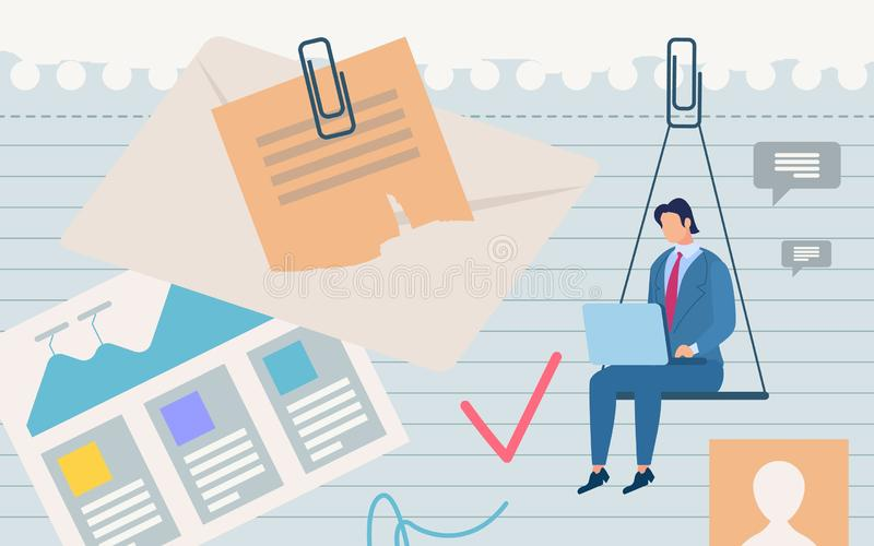 Informational Poster Suspended State Cartoon. Conceptual Idea Man and Daily Tasks. Man Sits with Laptop in Hand on Background Notebook with Goals and Graphic vector illustration