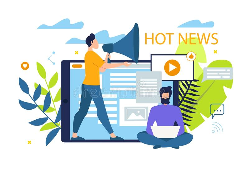 Informational Poster is Written Hot News Flat. royalty free illustration