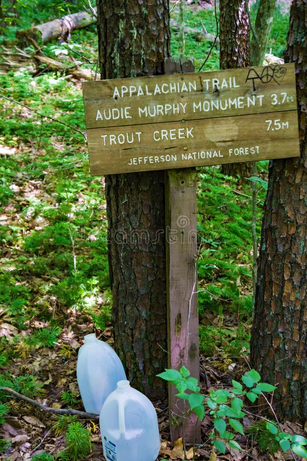 Informational Sign on the Appalachian Trail in Southwestern Virginia -2. Informational sign on the Appalachian Trail marked by a white blaze in the forest of stock photo