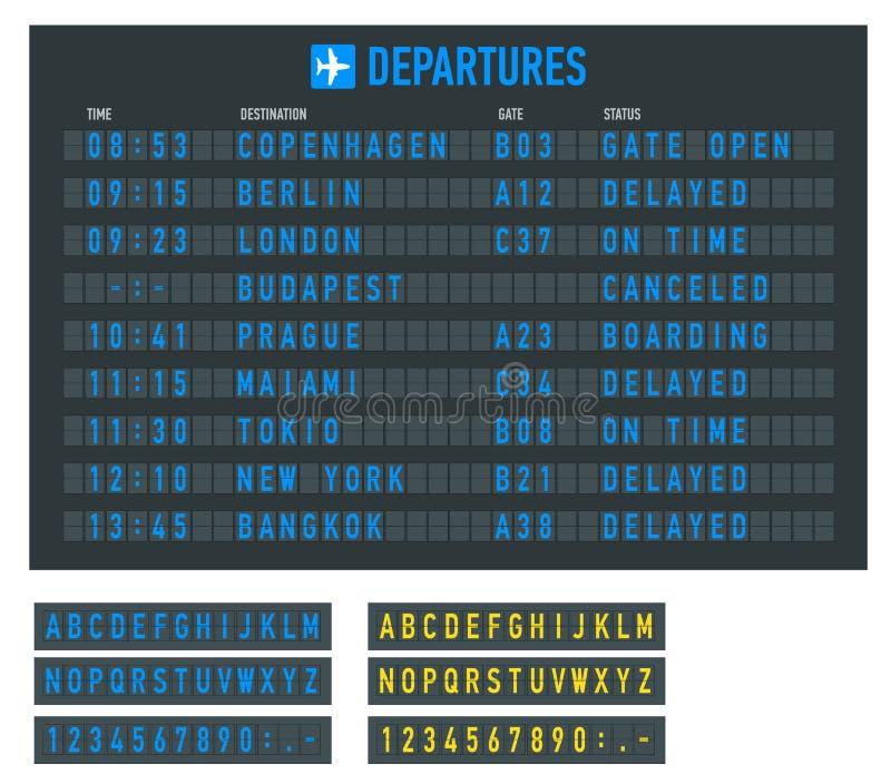 Informationen des Fluges auf der Anschlagtafel im Flughafen Flughafenabfertigungsgebäudeankunft und Abfahrtzeitplan, Informations stock abbildung